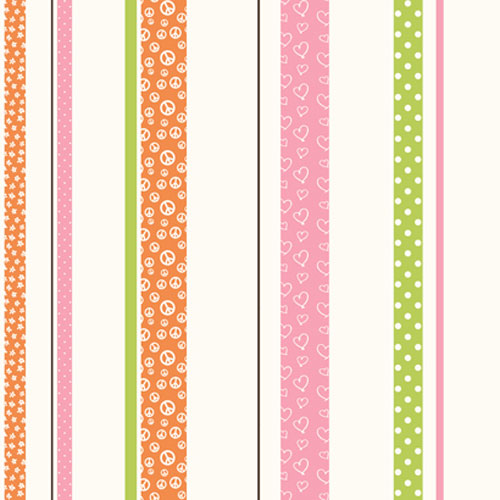Friends Forever Orange and Pink and Green Patterned Stripe Wallpaper: Sample Swatch Only