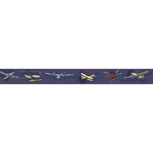 York Wallcoverings Friends Forever Navy Background Take Flight Airplane Border: Sample Swatch Only