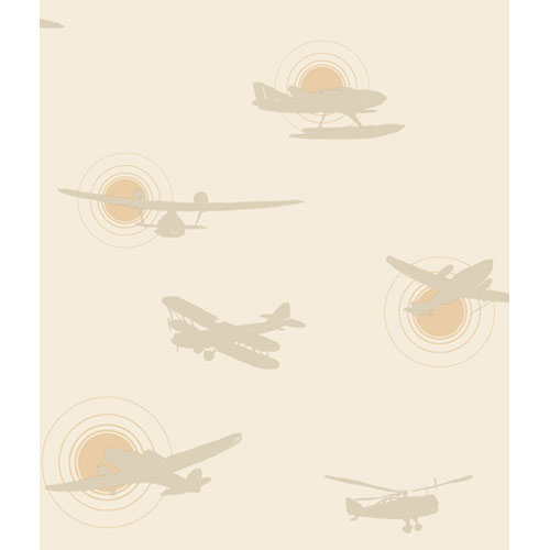 Friends Forever Khaki Airplane Silhouettes Wallpaper: Sample Swatch Only