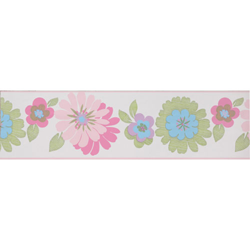 York Wallcoverings Friends Forever White Background and Pink and Green Floral Border: Sample Swatch Only