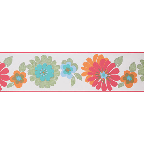 York Wallcoverings Friends Forever White Background and Coral and Orange Floral Border: Sample Swatch Only