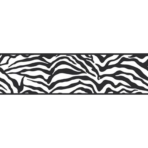 York Wallcoverings Friends Forever Black Girly Glam Zebra Border