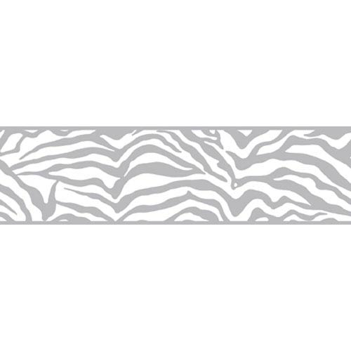 York Wallcoverings Friends Forever Silver Girly Glam Zebra Border: Sample Swatch Only