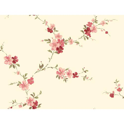 York Wallcoverings Inspired by Color Cream Blossom Trail Wallpaper: Sample Swatch Only