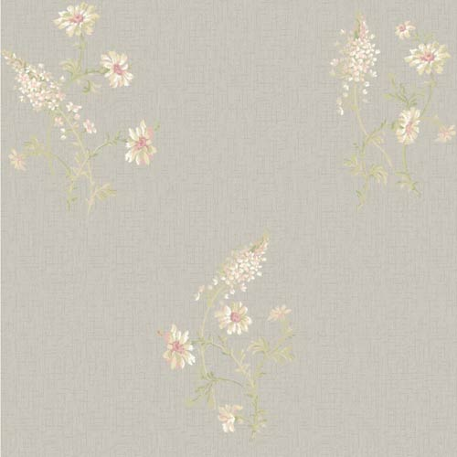 York Wallcoverings Sapphire Oasis Silver, Blush, Coral, Pale Yellow, White and Pale Green Flora Wallpaper: Sample Swatch Only