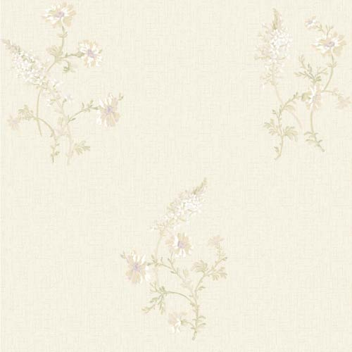 York Wallcoverings Sapphire Oasis Aqua, Beige, Pale Yellow, White and Sage Green Flora Wallpaper: Sample Swatch Only