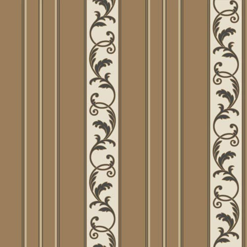 York Wallcoverings Sapphire Oasis Dark Bronze Satin, Cream and Black Damask Stripe Wallpaper: Sample Swatch Only