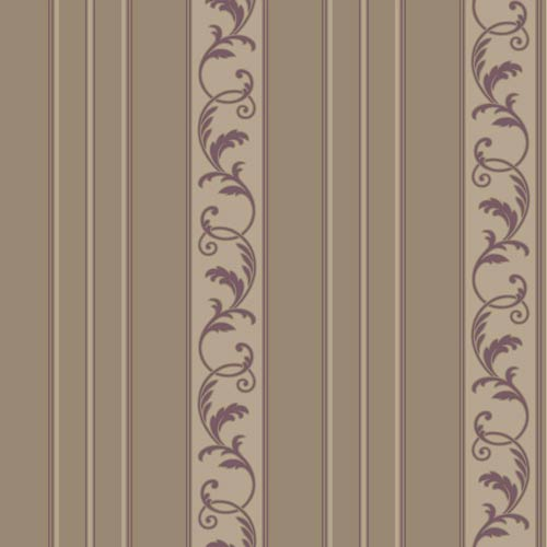 York Wallcoverings Sapphire Oasis Muted Bronze Satin, Taupe and Dark Amethyst Damask Stripe Wallpaper: Sample Swatch Only