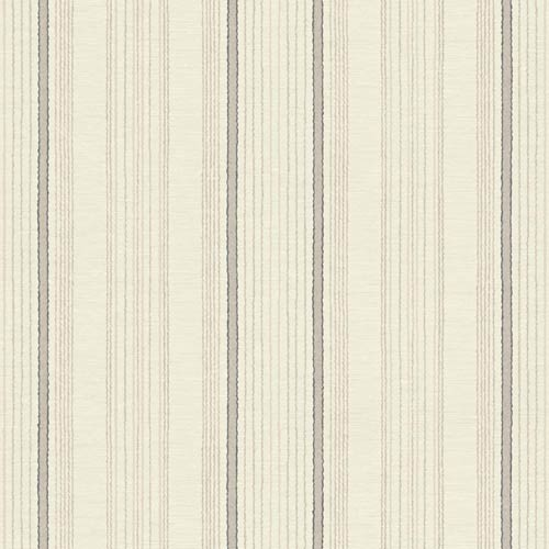 York Wallcoverings Sapphire Oasis Cream, Pale Taupe, Grey and Black Silk Pin Stripe Wallpaper: Sample Swatch Only