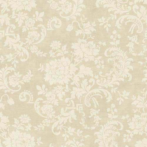 York Wallcoverings Sapphire Oasis Antique Ivory Satin Silk Floral Wallpaper: Sample Swatch Only