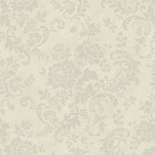 York Wallcoverings Sapphire Oasis Silver and Pale Grey Silk Floral Wallpaper: Sample Swatch Only