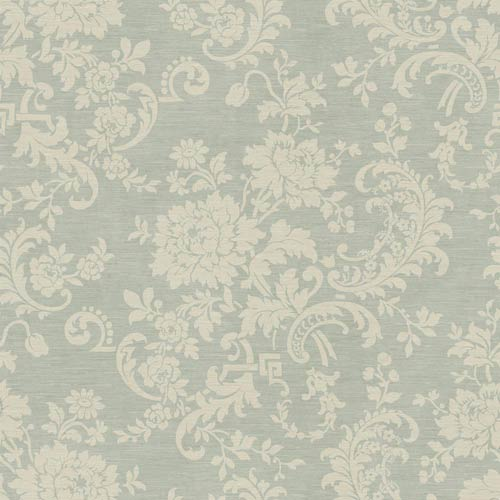 York Wallcoverings Sapphire Oasis Aquamarine and Cream Silk Floral Wallpaper: Sample Swatch Only