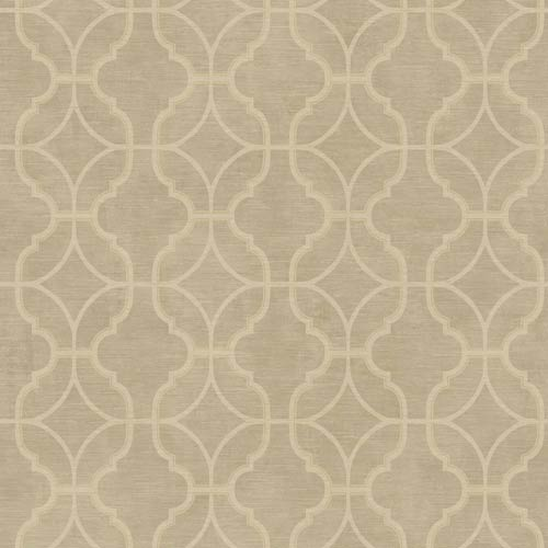 York Wallcoverings Sapphire Oasis Antique Gold, Grey and Cream Lattice Wallpaper: Sample Swatch Only