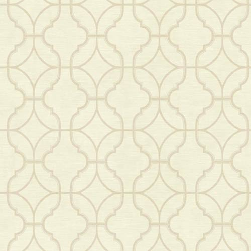 York Wallcoverings Sapphire Oasis Cream and Beige Lattice Wallpaper: Sample Swatch Only