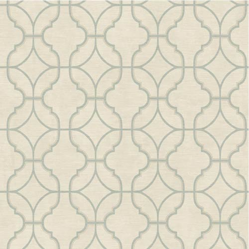 York Wallcoverings Sapphire Oasis Ecru, Aquamarine and Taupe Lattice Wallpaper: Sample Swatch Only