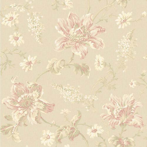 York Wallcoverings Sapphire Oasis Beige, Peach, Blush, White, Soft Yellow and Pale Green Floral Wallpaper: Sample Swatch Only