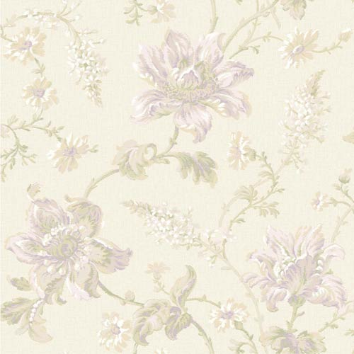 York Wallcoverings Sapphire Oasis Pearl, Amethyst, Beige, White, Grey and Soft Green Floral Wallpaper: Sample Swatch Only