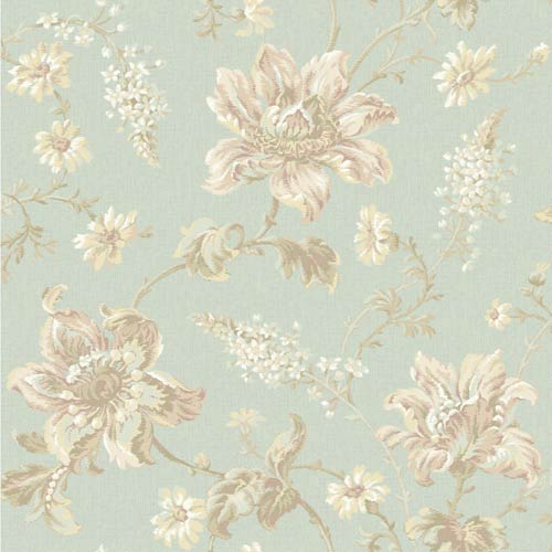 York Wallcoverings Sapphire Oasis Aqua, White, Beige, Amethyst, Soft Green and Pale Yellow Floral Wallpaper: Sample Swatch