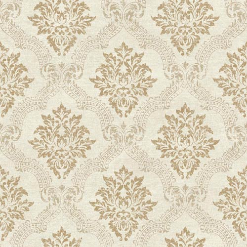 York Wallcoverings Sapphire Oasis Pearl and Taupe Framed Damask Wallpaper: Sample Swatch Only