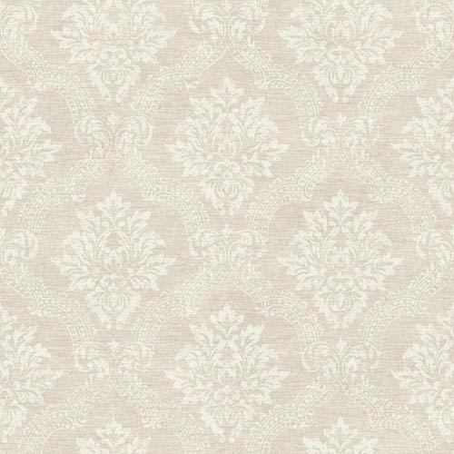 York Wallcoverings Sapphire Oasis Silvery Satin and White Framed Damask Wallpaper: Sample Swatch Only