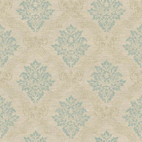 York Wallcoverings Sapphire Oasis Beach Sand Aquamarine and Pale Taupe Framed Damask Wallpaper: Sample Swatch Only