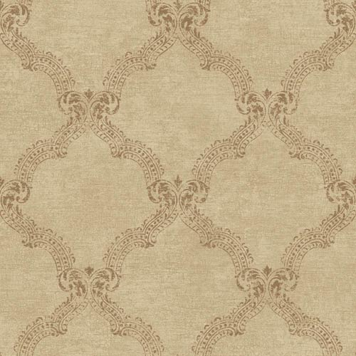 York Wallcoverings Sapphire Oasis Shimmering Gold and Cocoa Frame Wallpaper: Sample Swatch Only