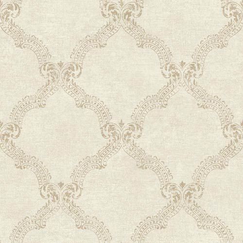 York Wallcoverings Sapphire Oasis Antique White, Gold Sheen and Soft Taupe Frame Wallpaper: Sample Swatch Only