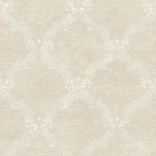 York Wallcoverings Sapphire Oasis Shimmering Pearl and White Frame Wallpaper: Sample Swatch Only