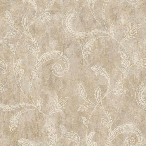 York Wallcoverings Sapphire Oasis Taupe, Grey and Gold Paisley Trail Wallpaper: Sample Swatch Only