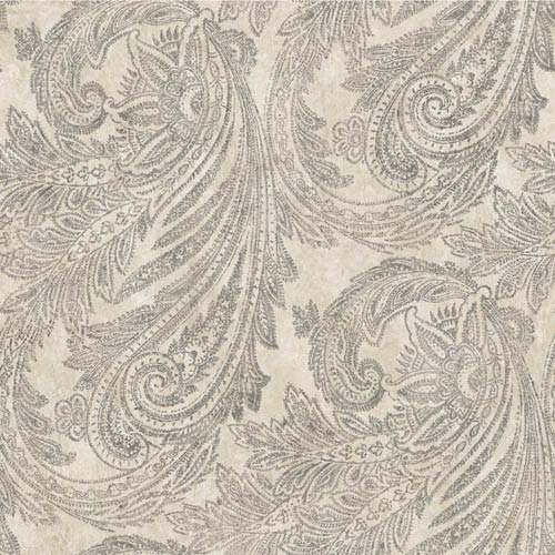 York Wallcoverings Sapphire Oasis Pale Grey, Graphite Grey and Gold Paisley Wallpaper: Sample Swatch Only