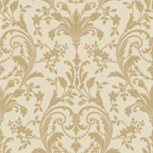 York Wallcoverings Sapphire Oasis Cream, Butterscotch and Pale Gold Satin Damask Wallpaper: Sample Swatch Only