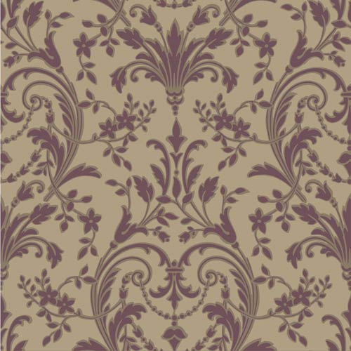 York Wallcoverings Sapphire Oasis Taupe, Dark Amethyst and Muted Bronze Surface Damask Wallpaper: Sample Swatch Only