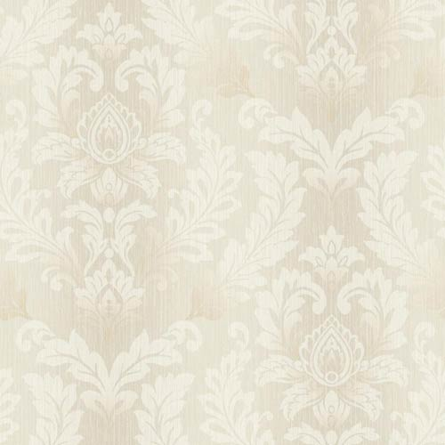 York Wallcoverings Sapphire Oasis Silver, Grey, Beige and Cream Tonal Damask Wallpaper: Sample Swatch Only