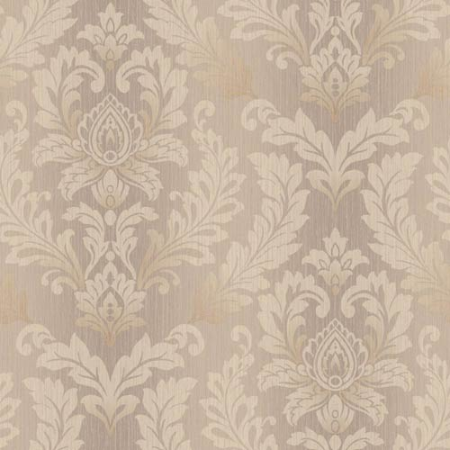 York Wallcoverings Sapphire Oasis Pink Quartz, Warm Beige and Gold Tonal Damask Wallpaper: Sample Swatch Only