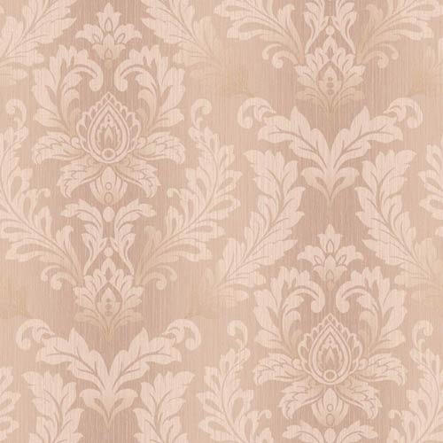 York Wallcoverings Sapphire Oasis Pink, Cream and Gold Tonal Damask Wallpaper: Sample Swatch Only