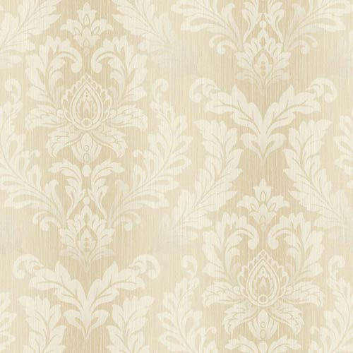 York Wallcoverings Sapphire Oasis Gold and White Tonal Damask Wallpaper: Sample Swatch Only