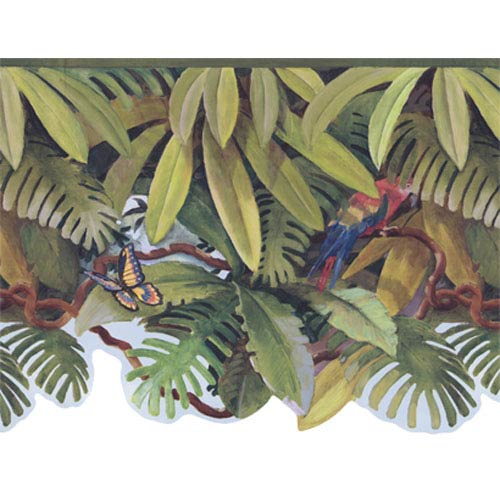 York Kids Green and Blue and Brown IV Jungle Treetop Border: Sample Swatch Only