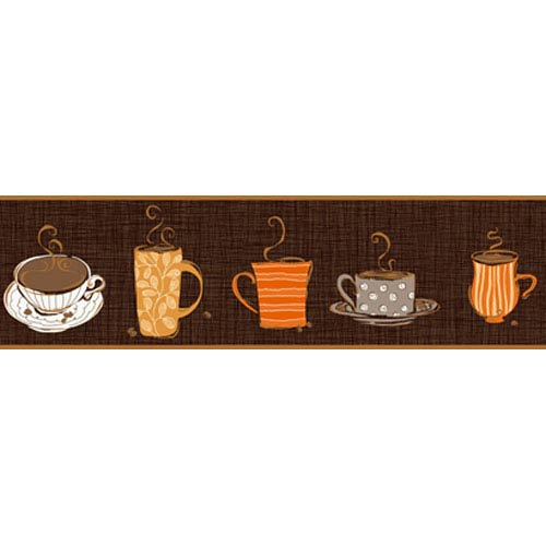 York Wallcoverings Bistro 750 Coffee Mug Border: Sample Swatch Only