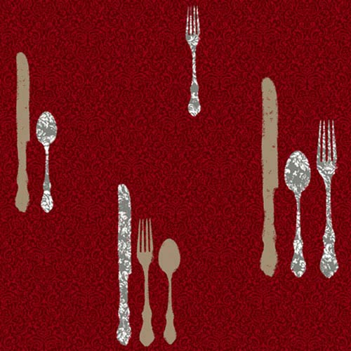 York Wallcoverings Bistro 750 Metallic Silverware with Damask Wallpaper