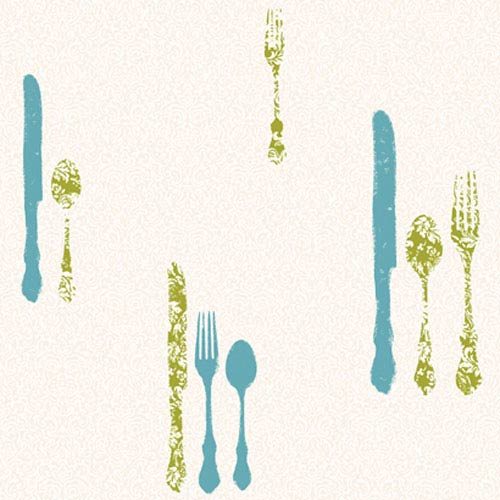 York Wallcoverings Bistro 750 Metallic Silverware with Damask Wallpaper: Sample Swatch Only