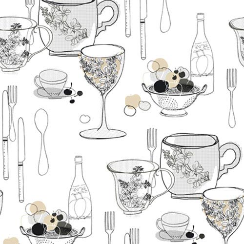York Wallcoverings Bistro 750 Graphic Tableware Wallpaper: Sample Swatch Only