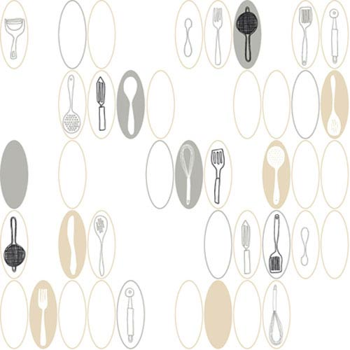 York Wallcoverings Bistro 750 Kitchen Utensils and Ovals Wallpaper: Sample Swatch Only