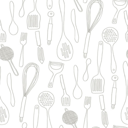 Bistro 750 Kitchen Contours Silhouettes Wallpaper: Sample Swatch Only