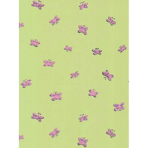 York Wallcoverings York Kids Celery Green and Pink IV Butterfly Wallpaper: Sample Swatch Only