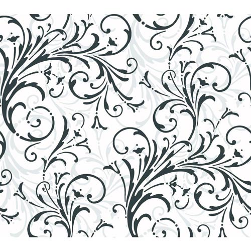 York Wallcoverings Inspired by Color Off White Layered Scroll Wallpaper