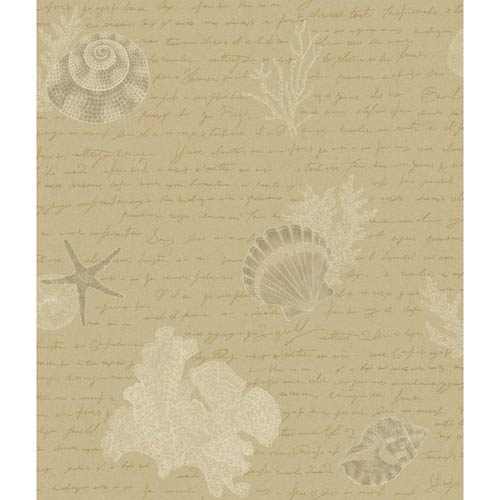 York Wallcoverings Kitchen and Bath Tan, Golden Glow and Grey Oceanic Wallpaper: Sample Swatch Only