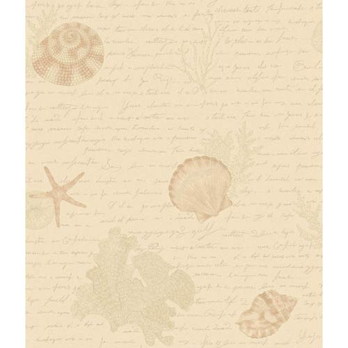York Wallcoverings Kitchen and Bath White, Pale Pink and Taupe Oceanic Wallpaper: Sample Swatch Only