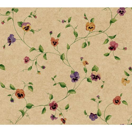 York Wallcoverings Kitchen and Bath Tan, Purple and Butterscotch Pansy Trail Wallpaper: Sample Swatch Only