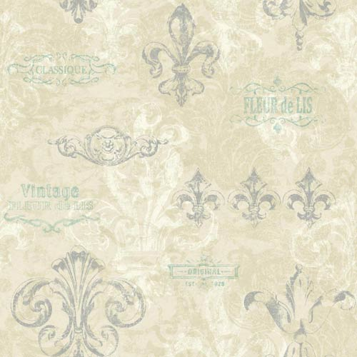 York Wallcoverings Kitchen and Bath Beige, Ecru and Silver Fleur Wallpaper: Sample Swatch Only