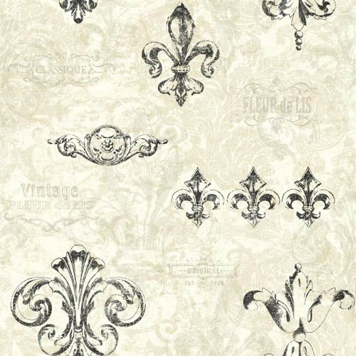 York Wallcoverings Kitchen and Bath Pearl White, Palest Taupe and Black Fleur Wallpaper: Sample Swatch Only